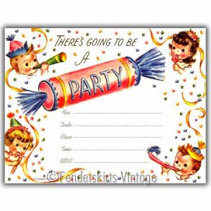 Vintage Retro 50s Kids Candy Birthday Party Invitations