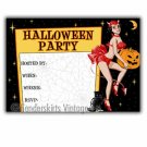 Vintage Retro Devil Pinup Girl Halloween Invitations