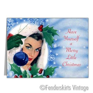 Vintage Retro 1950s PinUp Girl Christmas Cards