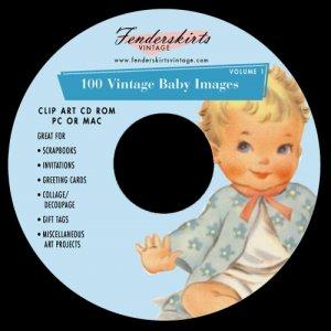 Vintage 50s Baby Shower Card Images Clipart Clip Art CD