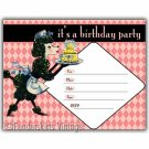 Vintage Retro Pink Poodle Birthday Party Invitations