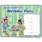 Vintage Kids Retro Stripe Birthday Party Invitations
