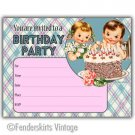Vintage Retro 50s Kids Cake Birthday Party Invitations