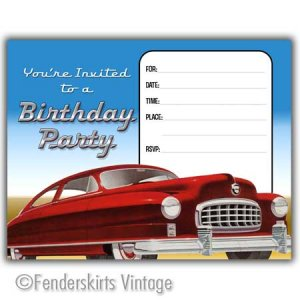 Vintage Retro Hot Rod Car Birthday Party Invitations