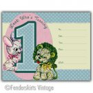 Vintage Retro Lion/Bunny 1yr Birthday Party Invitations