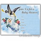 Vintage Retro 50s Baby Stork Shower Invitations Invite