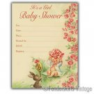 Vintage Retro 1950s Baby Girl Bunny Shower Invitations