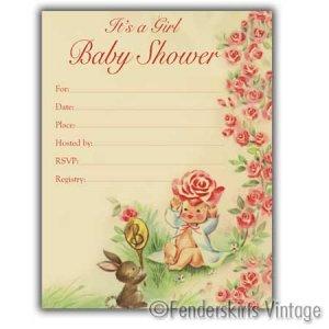 Vintage Retro 1950s Baby Girl Bunny Shower Invitations
