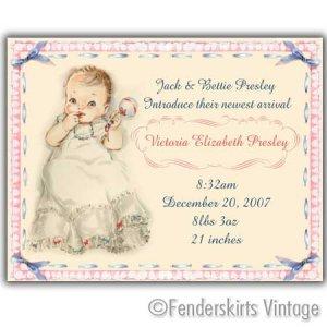 Custom Vintage Baby Rattle Girl Birth Announcements