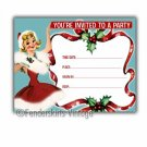 Vintage Retro Holiday Girl Party Invitations