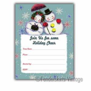 Vintage Retro Snowflake Holiday Party Invitations