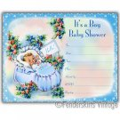 Vintage Retro Baby Boy Blue Bootie Shower Invitations