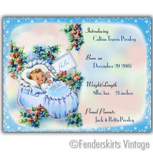 Custom Vintage Baby Boy Bootie Birth Announcements