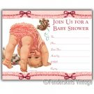 Vintage Retro 1950s Baby Pink Ruffle Shower Invitations