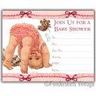 Vintage Retro 1950s Baby Pink Ruffle Shower Invitations