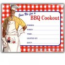 Retro Vintage 1950s BBQ Cookout Party Invitations