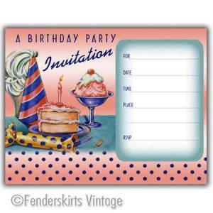 Vintage Retro Ice Cream Birthday Party Invitations
