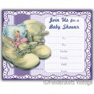 Vintage Retro 1950s Baby Shoes Shower Invitations
