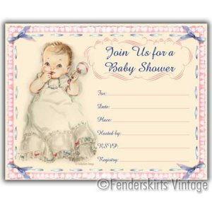 Vintage Retro 1950s Baby Girl Rattle Shower Invitations
