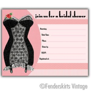 Vintage Retro Corset Bridal Wedding Shower Invitations