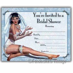 Vintage PinUp Girl Bridal Wedding Shower Invitations