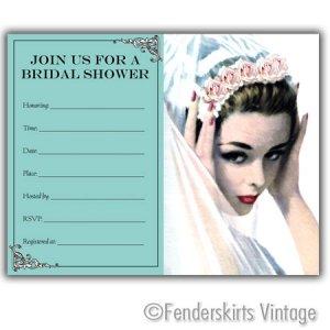 Vintage Retro Rose Bride Wedding Shower Invitations