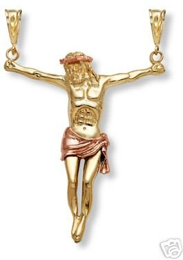 14K Gold Jesus Crucifixion Pendant - Medium Size