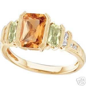 14K Yellow Gold Peridot & Citrine Diamond Ring
