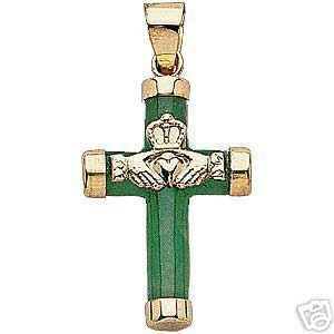 14K Gold Green Jade Claddagh Cross