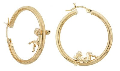 14K Gold Angel Hoop Earrings