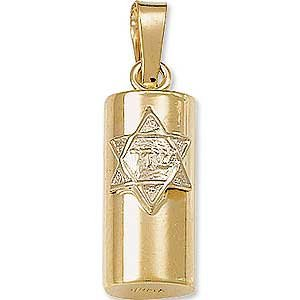 14K Gold Two Tone Mezuzah Pendant