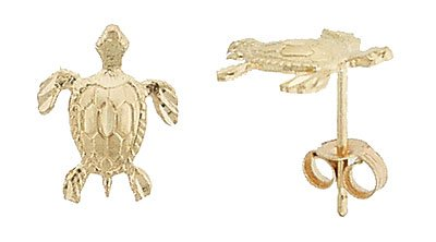 14K Italian Gold Turtle Stud Earrings