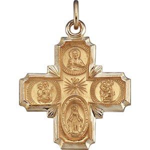 14K Gold 4-Way Cross Medal