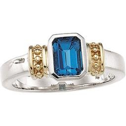 Sterling Silver & 14K Gold London Blue Topaz Ring