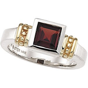 Sterling Silver & 14K Gold Genuine Mozambique Garnet Ring