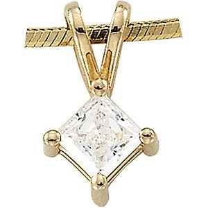 14K Gold Cubic Zirconia Princess Cut Pendant