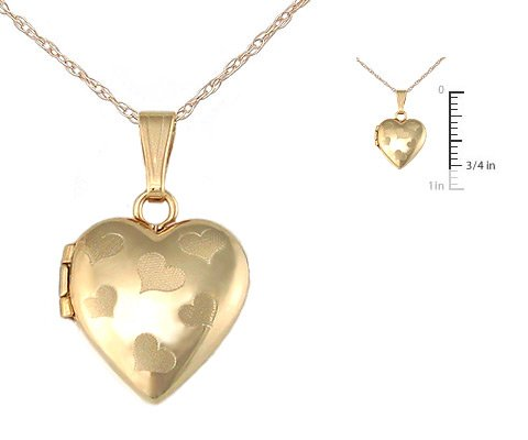 "Children's 14K Gold Heart Locket with 15"" Rope Chain"