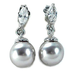 Sterling Silver Simulated Pearl & Marquise CZ Earrings