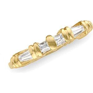 14K Yellow Gold Signity Star CZ Bridal Wedding Band