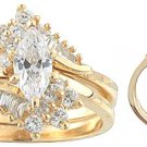 14K Yellow Gold Signity Star Marquise CZ Wedding Set