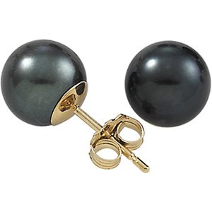 14K Yellow Gold Genuine Black Cultured Pearl Stud Earrings