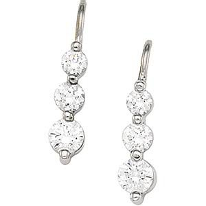 14K White Gold 3-Stone Anniversary CZ Earrings
