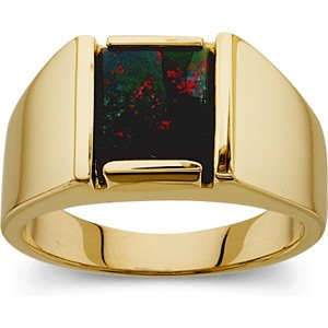 Men's 14K Yellow Gold Bloodstone Ring
