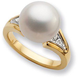 14K Yellow Gold South Sea Pearl & Diamond Ring