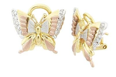 14K Tri Color Gold Butterfly Earrings