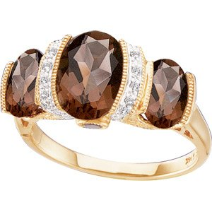 14K Gold Genuine Smoky Quartz & Diamond Ring