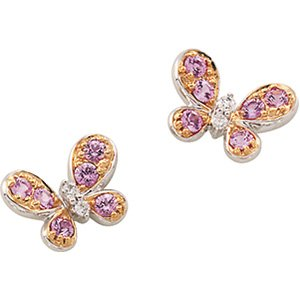 14K White Gold Genuine Pink Sapphire & Diamond Butterfly Earrings