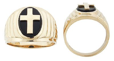 14K Gold Mens Onyx Cross Ring