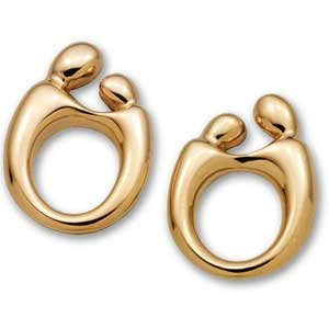 14K Gold Mother & Child Post Earrings (Choice of Gold)