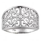 14K White Gold Diamond Cut Filigree Ring
